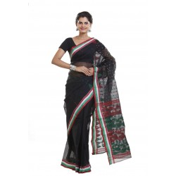 Sanrocks Global Fashions Woven Tant Cotton Saree  (Black, Red)