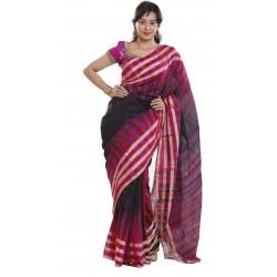 Sanrocks Global Fashions Woven Fashion Polycotton Saree  (Pink)