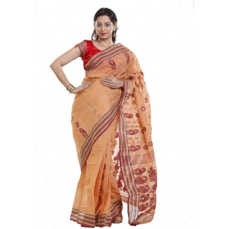 Sanrocks Global Fashions Woven Tant Cotton Saree  (Beige, Maroon)