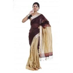 Sanrocks Global Fashions Woven Tant Cotton Saree  (Brown)