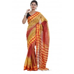Sanrocks Global Fashions Woven Tant Polycotton Saree  (Red, Yellow)