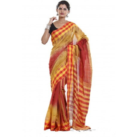Sanrocks Global Fashions Woven Tant Polycotton Saree  (Red, Yellow)