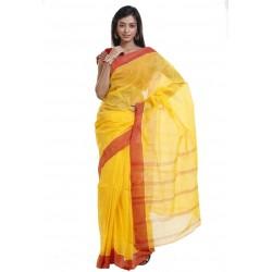 Sanrocks Global Fashions Printed Tant Cotton Saree  (Yellow, Red)