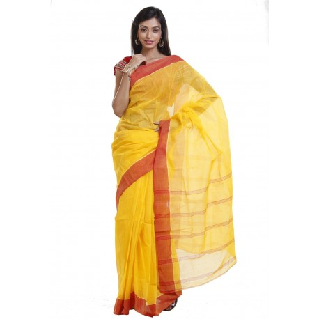 Sanrocks Global Fashions Printed Tant Cotton Saree  (Yellow, Red)