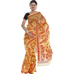 Woven Jamdani Cotton Saree (Red)