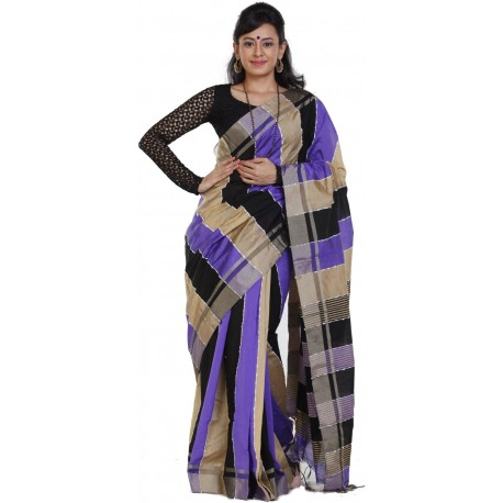 Sanrocks Global Fashions Woven Tant Polycotton Saree  (Multicolor)