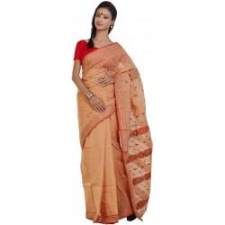 Printed Tant Cotton Saree (Orange)