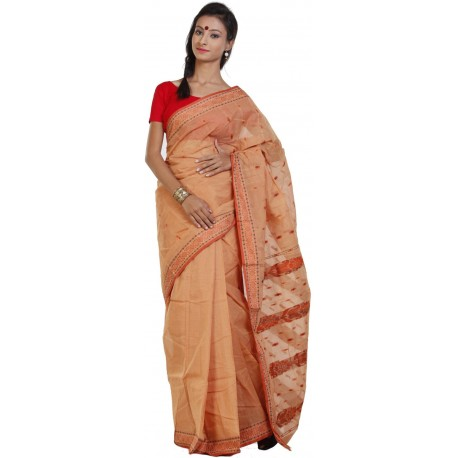 Sanrocks Global Fashions Printed Tant Cotton Saree  (Orange)