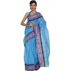 Woven Tant Cotton Saree (Blue)
