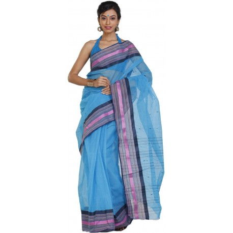 Sanrocks Global Fashions Printed Tant Cotton Saree  (Blue)