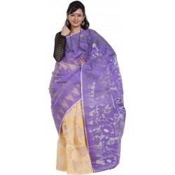 Printed Jamdani Cotton Saree (Purple)