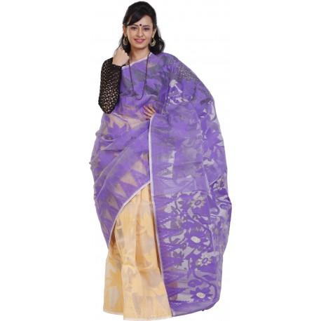 Sanrocks Global Fashions Printed Jamdani Cotton Saree  (Purple)