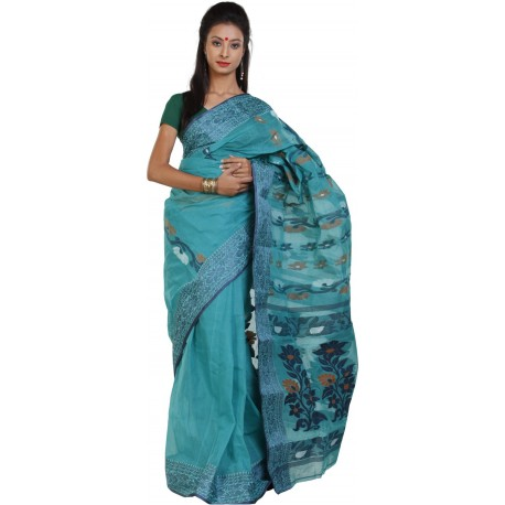 Woven Tant Cotton Saree (Green)