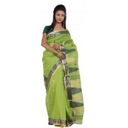 Woven Tant Cotton Saree (Green)