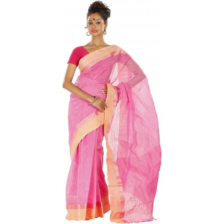 Sanrocks Global Fashions Woven Tant Cotton Saree  (Pink)