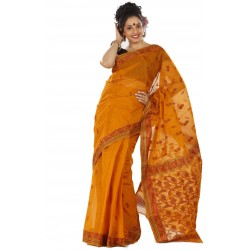 Woven Tant Cotton Saree (Multicolor)