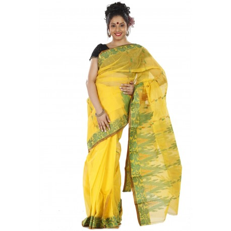 Sanrocks Global Fashions Woven Tant Cotton Saree  (Yellow, Green)