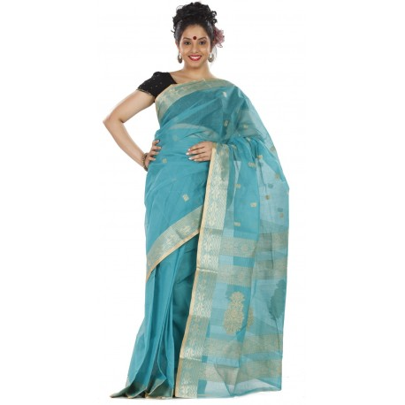 Sanrocks Global Fashions Woven Tant Cotton Saree  (Blue)