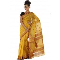 Sanrocks Global Fashions Woven Tant Cotton Saree  (Yellow)