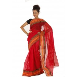 Woven Tant Cotton Saree (Red)