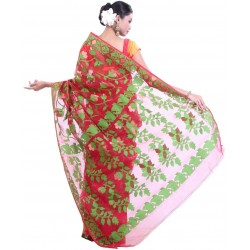 Woven Jamdani Cotton Saree (Red, Green)