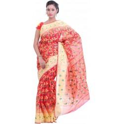 Sanrocks Global Fashions Woven Jamdani Cotton Saree  (Red, Green)