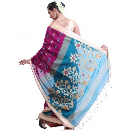 Sanrocks Global Fashions Woven Tant Cotton Saree  (Magenta, Blue)