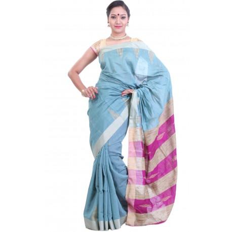 Sanrocks Global Fashions Embellished Tant Cotton Saree  (Blue, Pink)