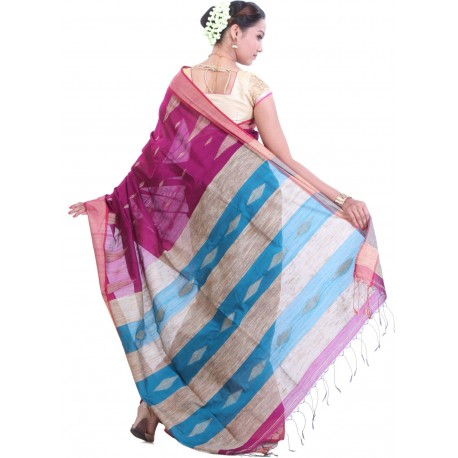 Sanrocks Global Fashions Woven Tant Cotton Saree  (Pink, Blue)