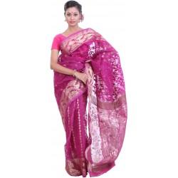 Woven Jamdani Cotton Saree (Pink, Gold)