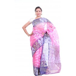 Sanrocks Global Fashions Woven Jamdani Cotton Saree  (Pink, Blue)