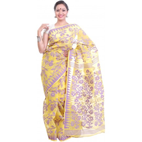 Woven Jamdani Cotton Saree (Yellow, Purple)
