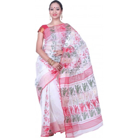 Woven Jamdani Cotton Saree (White, Red, Green)