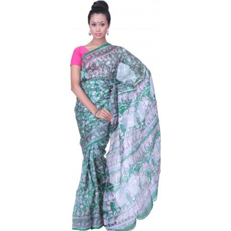 Printed Murshidabad Silk Saree (Green, Pink)
