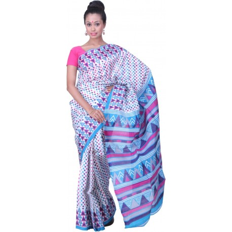Sanrocks Global Fashions Printed Murshidabad Silk Saree  (Blue, Pink)