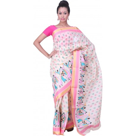 Sanrocks Global Fashions Printed, Embroidered Tant Cotton Saree  (Pink, Blue)