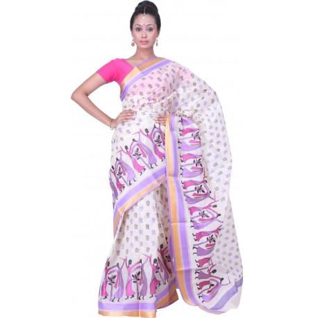 Sanrocks Global Fashions Printed, Embroidered Tant Cotton Saree  (Purple, Pink, White)