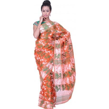 Sanrocks Global Fashions Woven Jamdani Cotton Saree  (Multicolor)
