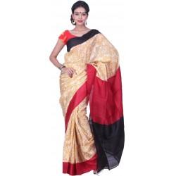 Printed Murshidabad Silk Saree  (Yellow, Red, Black)