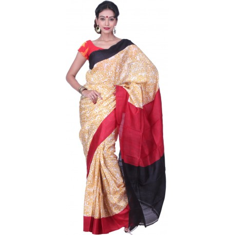 Sanrocks Global Fashions Printed Murshidabad Silk Saree  (Yellow, Red, Black)