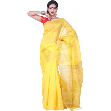 Sanrocks Global Fashions Woven Fashion Silk Cotton Blend Saree  (Yellow)
