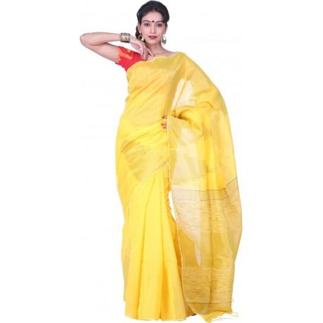 Sanrocks Global Fashions Woven Fashion Silk Cotton Blend Saree  (Yellow)