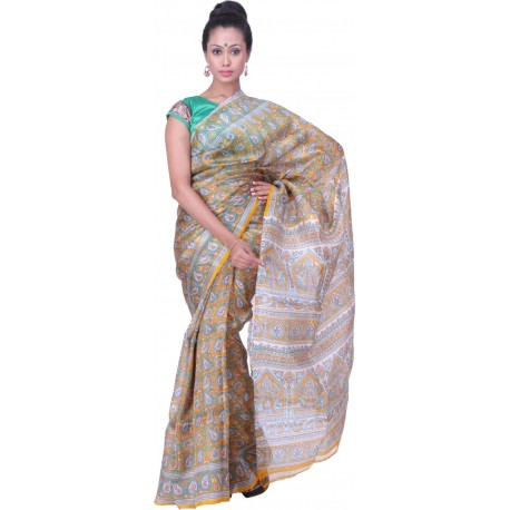 Sanrocks Global Fashions Printed Murshidabad Silk Saree  (Multicolor)
