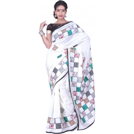 Sanrocks Global Fashions Applique Bhagalpuri Silk Saree  (Multicolor)