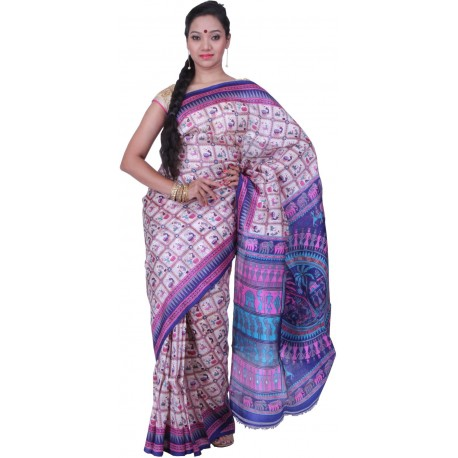 Printed Murshidabad Silk Saree (Pink, Blue, White)