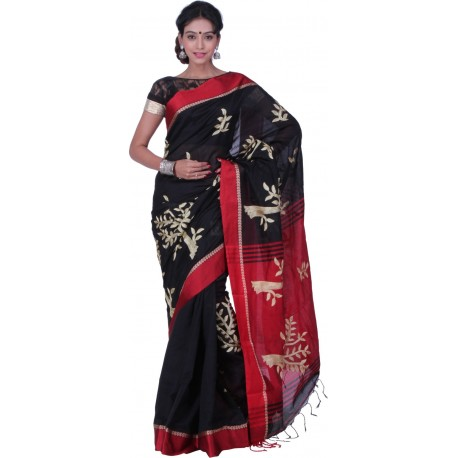 Sanrocks Global Fashions Embroidered Fashion Silk Cotton Blend Saree  (Black, Red)