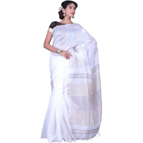 Sanrocks Global Fashions Woven Fashion Polycotton Saree  (White)
