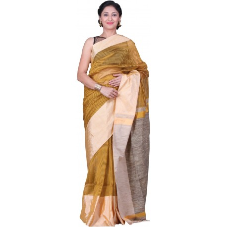 Sanrocks Global Fashions Woven Fashion Polycotton Saree  (Yellow)