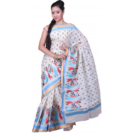 Sanrocks Global Fashions Woven Tant Cotton Saree  (Red, Blue, Black)