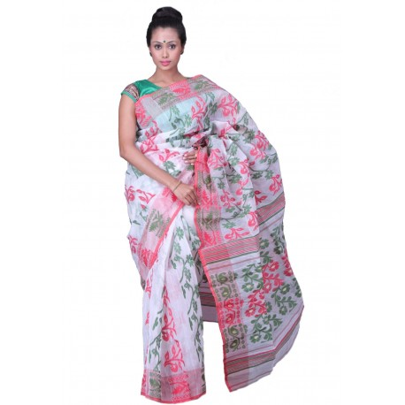 Woven Jamdani Cotton Saree (Green, Red, White)
